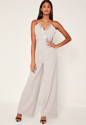 Missguided Grey Satin Contrast Tailored Wrap Jumpsuit