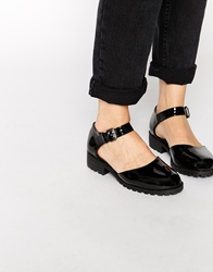 Truffle Collection Two Part Bar Flat Shoes Blackpatent