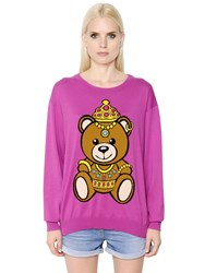 Moschino Teddy Bear Intarsia Cotton Sweater