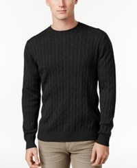 Club Room Men's Pima Cotton Cable Knit Sweater Only At Macy's Deep Black