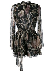 Zimmermann Floral Print Playsuit Black