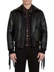 Givenchy Solid Leather Jacket Black