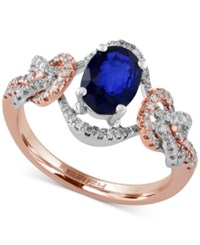 Effy Collection Royale Bleu By Effy Sapphire 1 3 8 Ct. T.W. And Diamond 1 4 Ct. T.W. Ring In 14K Rose And White Gold Blue