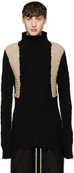 Rick Owens Black And Beige Textured Turtleneck