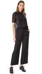 Dkny Collared Jumpsuit With Sheer Back Black