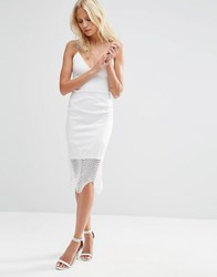 Asos Deep Plunge Lace Trim Pencil Dress Ivory