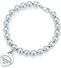Tiffany And Co. Return To Tiffanytm Small Heart Tag In Sterling Silver On A Bead Bracelet
