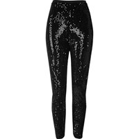 River Island Womens Black Sequin High Rise Leggings
