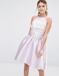 Chi Chi London Sateen High Low Prom Dress With 3D Embroidery Dusky Lavender Purple