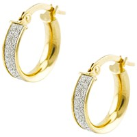 A B Davis Aurium Sparkle Collection 9Ct Gold Faux Pave Small Hoop Earrings