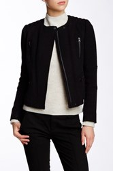 Vince Wool Blend Boucle Moto Jacket Black