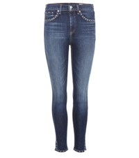 Rag And Bone 10 Inch Capri With Slit Embellished Jeans Blue