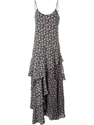 Pascal Millet Floral Print Flounce Dress Black