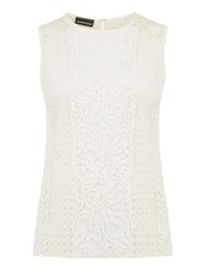 Warehouse Lace Patchwork Shell Top Cream