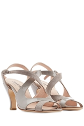 Repetto Bamba Patent Leather And Suede Sandals Grey