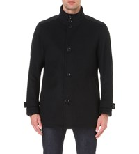 Hugo Boss Funnel Neck Wool And Cashmere Blend Jacket Black