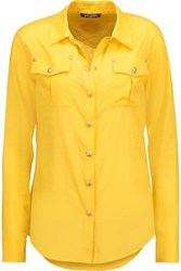 Balmain Button Embellished Cotton Shirt Yellow