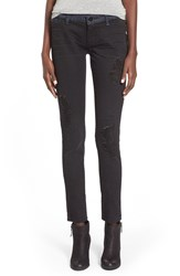 Standards Practices Distressed Two Tone Skinny Jeans Black Out