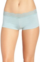 Free People Women's Medallion Lace Waistband Boyshorts Blue Green