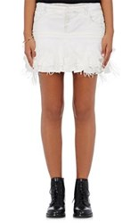 Faith Connexion Women's Ruffle Trimmed Denim Miniskirt White