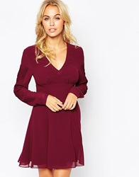 Asos Babydoll Skater Dress With Pleat Detail Sleeve Burgundy