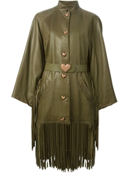 Christian Dior Vintage Fringed Heart Button Coat Green