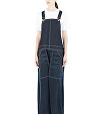 Hannah Jinkins Silk And Coated Denim Dungarees Blue