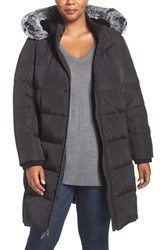Gallery Plus Size Women's Hooded Down And Feather Fill Stadium Coat With Faux Fur Trim