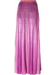 Missoni Pleated Knit Maxi Skirt Pink And Purple