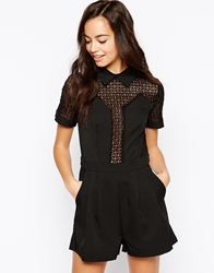 Girls On Film Playsuit With Sheer Panel Black