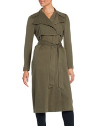 Karl Lagerfeld Belted Trench Coat Olive