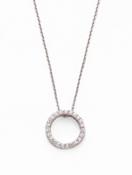 Roberto Coin Tiny Treasures Diamond And 18K White Gold Petite Circle Pendant Necklace