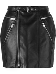 Saint Laurent Zipped Leather Mini Skirt Black
