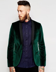 Noose And Monkey Velvet Blazer In Skinny Fit Green