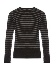Vince Sporty Jaspe Striped Cotton Blend Sweater Black Stripe