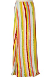 J.Crew Collection Striped Sequined Silk Georgette Maxi Skirt Orange Yellow