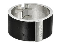 Guess Wide Hinge Faux Ostrich Logo Bangle Silver Black Bracelet Gray