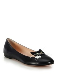 Kate Spade Whiskers Cat Paneled Leather Flats Black