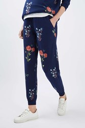 Topshop Maternity Floral Joggers Navy Blue