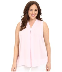 Vince Camuto Plus Size Sleeveless V Blouse W Inverted Front Pleat Sugar Petal Women's Blouse Pink