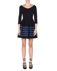 Fendi 3 4 Sleeve Lace Striped Fit And Flare Dress Black London