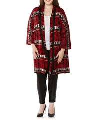 Rafaella Plus Geometric Open Front Cardigan Black Multi