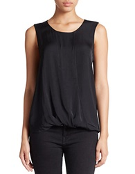 Lord And Taylor Plus Sleeveless Mock Wrap Blouse Black