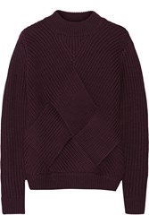 Carven Cross Over Ribbed Knit Wool Sweater Purple