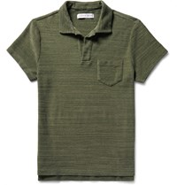 Orlebar Brown Terry Slim Fit Ma Lange Cotton Terry Polo Shirt Green