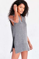 Silence And Noise Deep V Tunic Sweater Vest Charcoal