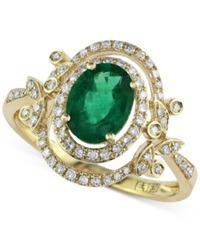 Effy Collection Brasilica By Effy Emerald 1 1 8 Ct. T.W. And Diamond 1 4 Ct. T.W. Floral Ring In 14K Gold