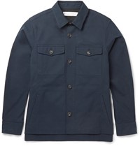 Private White V.C. Piccadilly Cotton Canvas Shirt Jacket Blue