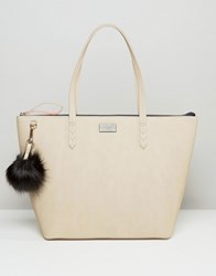 Paul's Boutique Pauls Conner Croc Tote In Nude With Fur Pom Nude Beige