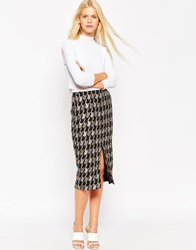 Asos Premium Pencil Skirt In Houndstooth Camo Jacquard Co Ord Multi